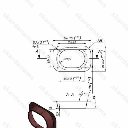 Kantainas teknes un notekcaurules konektors. Rasējums.