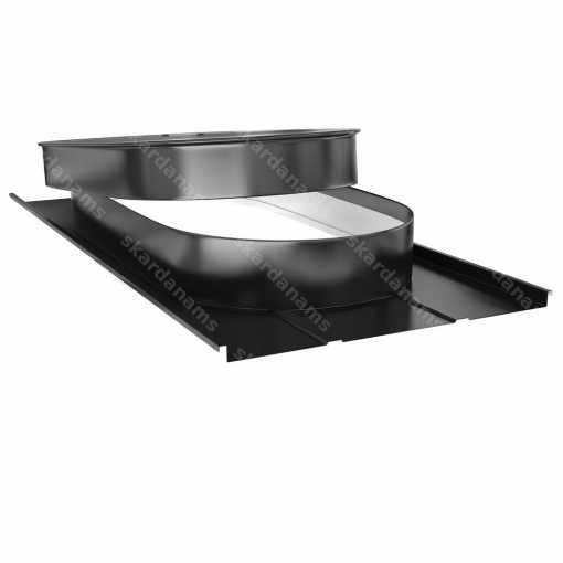 Oval shape roof hatch type 3. Produced from stainless sheet metal with 0.5mm thickness.